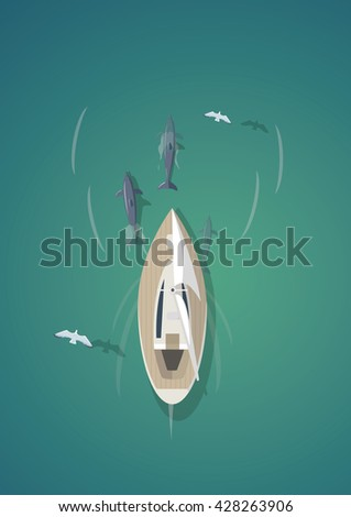 Tropical paradise. Top view of the yacht with dolphins. - stock vector
