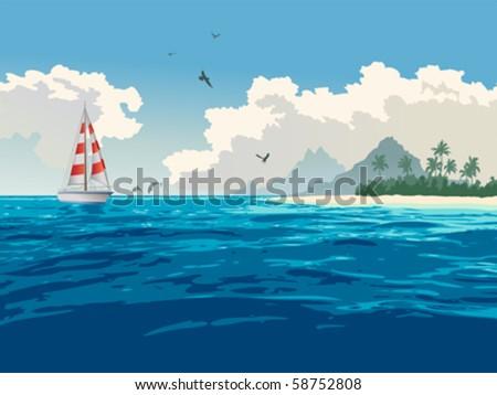 Tropical paradise. Turquoise ocean, tropical island, palm trees, white sand beach, yacht, seagulls, dolphins - stock vector