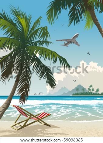 Tropical paradise. Vector illustration of the tropical beach. - stock vector
