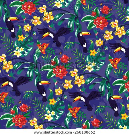 Tropical pattern with toucans and flowers. - stock vector