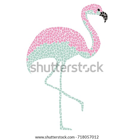Tropical Pink Turquoise Flamingo Bird On Stock Vector 718057012 ...