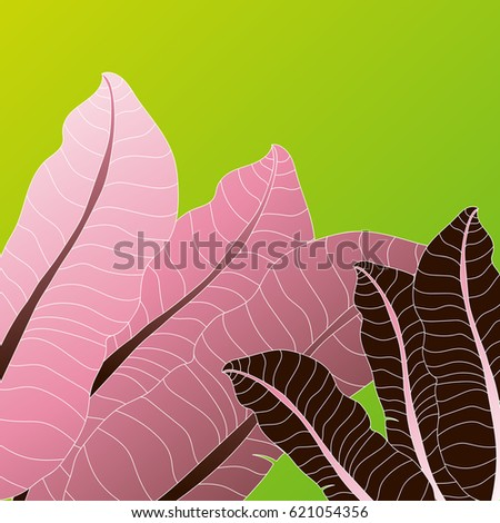 Tropical pink leaves background design for business