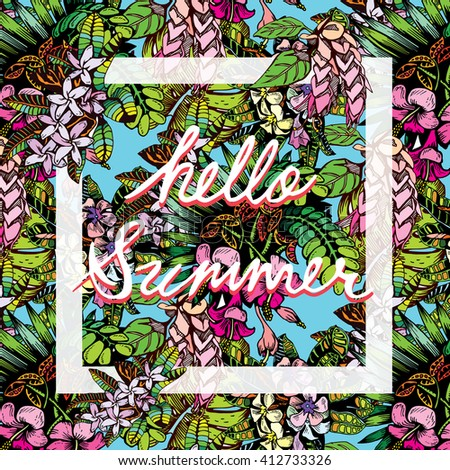 """Tropical Plant Pattern with Text """"Hello Summer"""" - stock vector"""