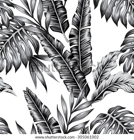 tropical plants trendy seamless background - stock vector