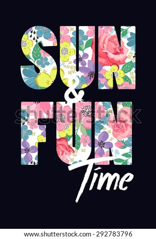 Tropical print slogan.For t-shirt or other uses,in vector. - stock vector