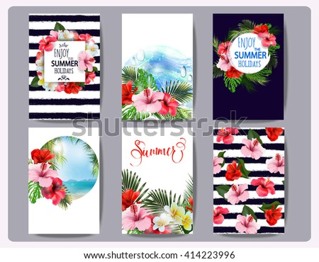 Tropical printable set. Vector cards, notes and banners with toucan, Beach, palm trees, Hibiscus Flower,  beautiful panoramic sea view, with clean water & blue sky. Template Vector. - stock vector