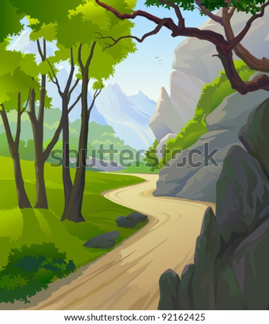 TROPICAL RAIN FOREST TREES AND HILLY PATHWAY - stock vector