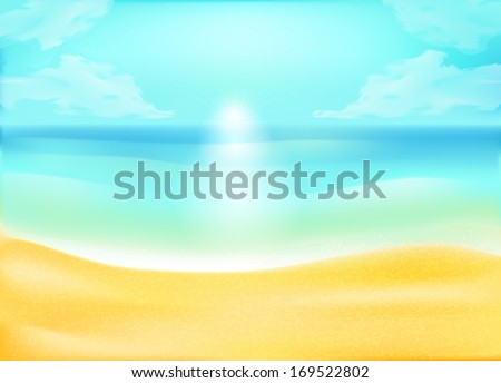 tropical sand beach and sea or ocean background, vector concept for rest - stock vector