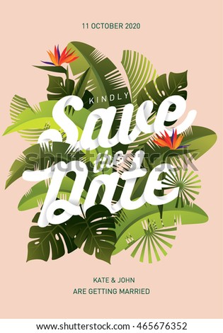 Tropical save the date template vector/illustration