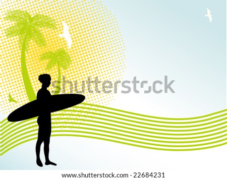 tropical scene with girl and board - stock vector