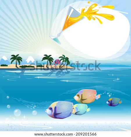 Tropical scene with underwater life and text place - stock vector