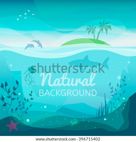 Tropical sea natural background. Landscape of marine life - Island in the ocean and underwater world with different animals. Low polygon style flat illustrations. For web and mobile phone, print. - stock vector