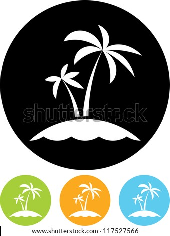 Tropical sea small island - Vector icon isolated - stock vector