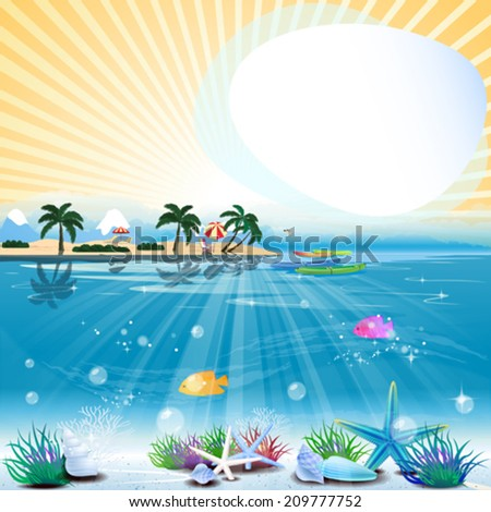 Tropical sea theme background with text area - stock vector