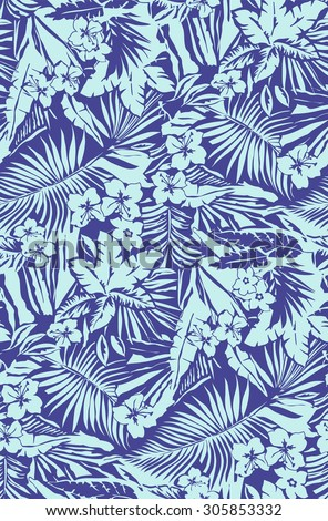 Tropical seamless pattern in vector - stock vector