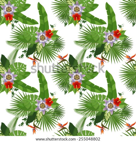 tropical seamless pattern on white background - stock vector