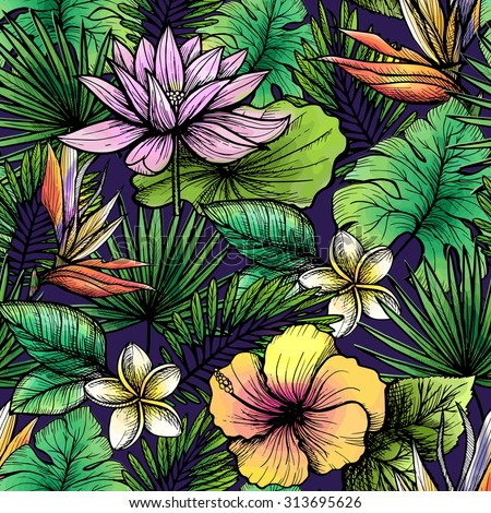 Tropical seamless pattern with hand drawn leaves and flowers vector illustration - stock vector