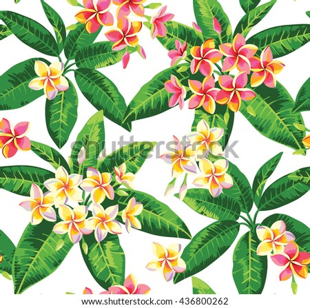 Tropical seamless pattern with plumeria flowers. Vector illustration. - stock vector
