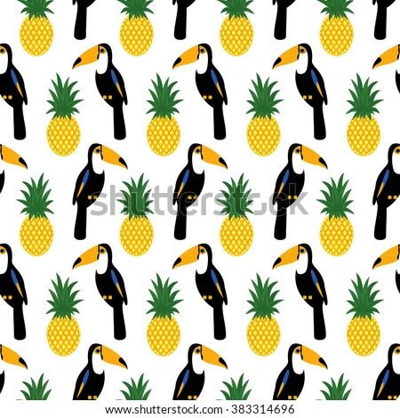 Tropical seamless pattern with toucans and pineapples. Trendy Jungle illustration. Fashion summer background. - stock vector