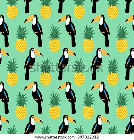 Tropical seamless pattern with toucans and pineapples. Trendy Jungle illustration on mint green background. Fashion summer background. - stock vector