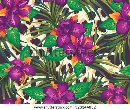 Tropical seamless print with orchids and palm leaves on a background with leopard spots. Vector illustration. - stock vector