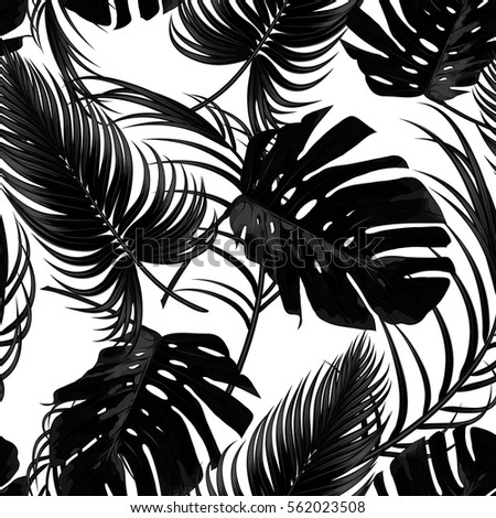 Tropical Seamless Vector Floral Pattern With Palm Leaves Jungle Leaf Tropic Monochrome Background