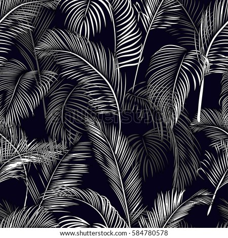 Tropical Seamless Wallpaper From Branch And Leaves Palms Vector Illustration