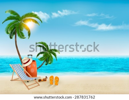 Tropical seaside with palms, a beach chair and a suitcase. Vacation vector background. Vector. - stock vector