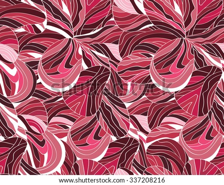 Tropical seaweed seamless pattern. Hand drawn abstract vector illustration. - stock vector