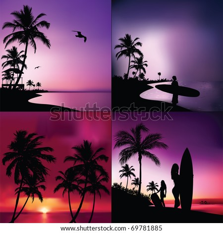 Tropical Set - stock vector