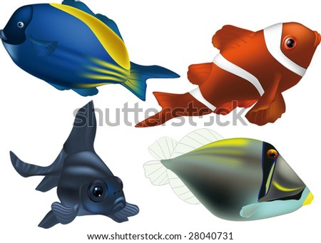 tropical small fish the clown - stock vector