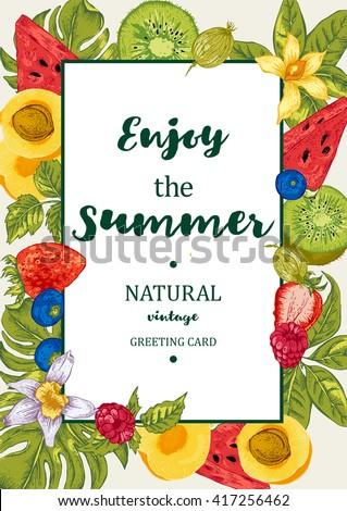 Tropical Summer Exotic Menu Fruits Card with Watermelon, Apricot, Kiwi, Vanilla and Berries, Vector Nature Fruits Summer Vintage Invitation - stock vector