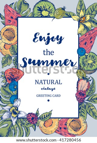 Tropical Summer Exotic Menu Fruits Card with Watermelon, Apricot, Kiwi, Vanilla and Berries, Vector Summer Nature Vintage Invitation - stock vector