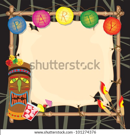 Tropical summer tiki or luau party with lanterns, tiki head, tiki torches and bamboo frame. - stock vector