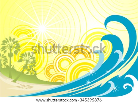 Tropical Summer-Vector illustration of summer background. - stock vector