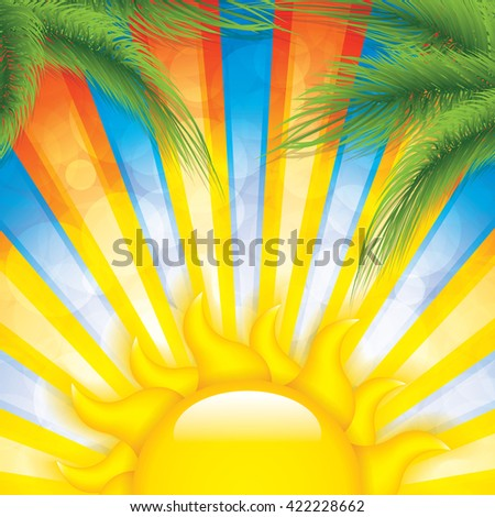 Tropical sunset background with palm trees and sun - stock vector