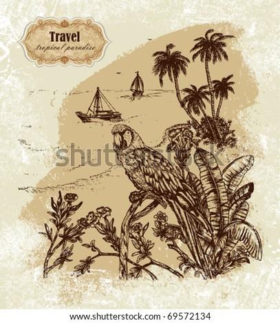 Tropical travel - stock vector
