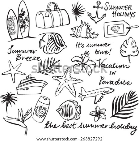 Tropical vacation doodle icon set - stock vector
