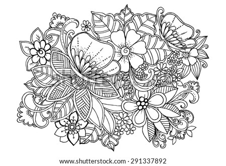 Tropical wild life. Flowers and butterflies on a white background in a black lines. Doodle floral image for coloring book and designs ideas - stock vector