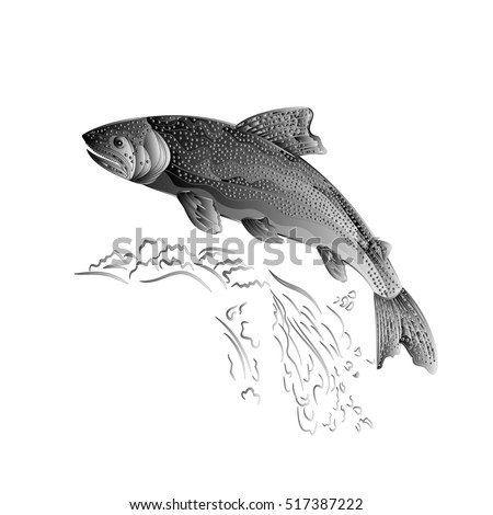 Trout jumps  in stream salmon-predatory fish as wrought metal vintage vector illustration