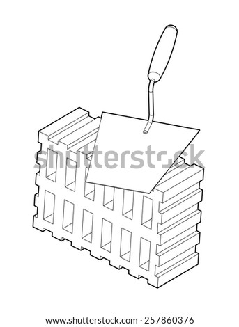 Trowel and brick illustration isolated on white background - stock vector
