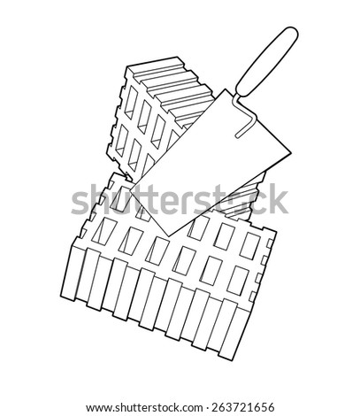Trowel and bricks illustration isolated on white background. - stock vector