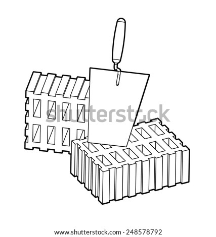 Trowel and bricks isolated on white background - stock vector