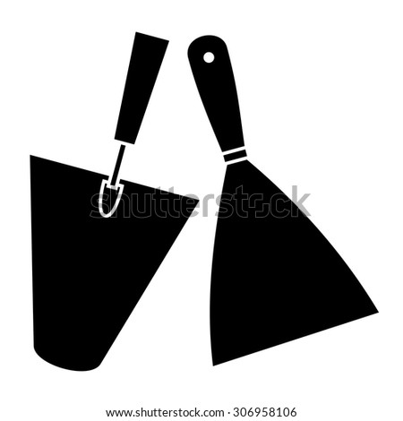 Trowel and spatula icon - stock vector