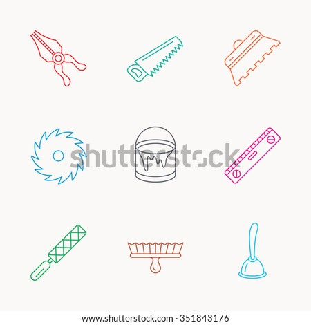 Trowel for tile, saw and brush tool icons. Level and file tool, bucket of paint linear signs. Plunger, pliers icons. Linear colored icons. - stock vector