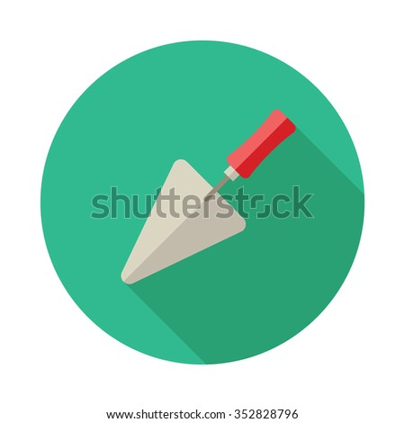 Trowel icon with long shadow. - stock vector