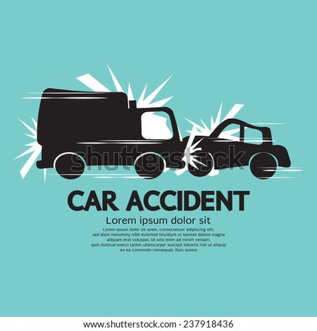 Truck And Car In An Accident Vector Illustration - stock vector