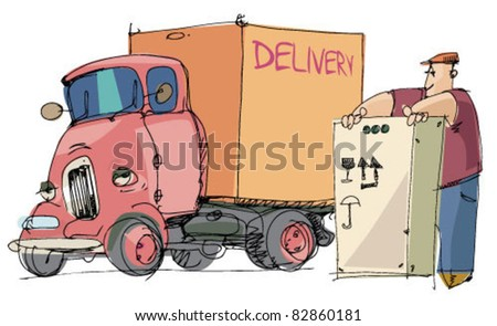 truck and loader worker - stock vector