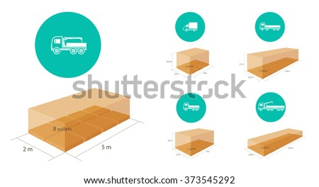 Truck and picker truck icons with capacity scheme - stock vector