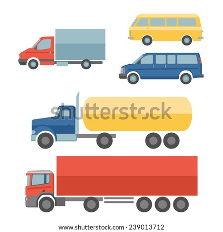 Truck auto delivery transport vehicles decorative icons flat set isolated vector illustration - stock vector